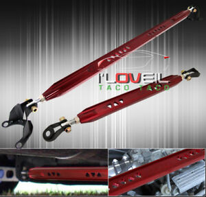 2002 2006 Mitsubishi Lancer Es Ls Jdm Rear Upper Lower Strut Bar Tower Tie Red
