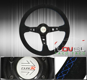 Universal Black Deep Dish Suede Steering Wheel Type r Horn Tight Grip Aluminum