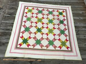Antique Touching Star Quilt Red Green Mustard And White Applique Stars Vintage