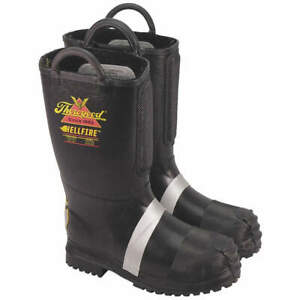 Thorogo Insulated Fire Boots 9 1 2m steel pr 807 6003 9 5m Black yellow silver
