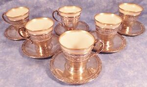 6 Lenox Antique Demitasse Cups W Sterling Holders Sterling Saucers S Mono