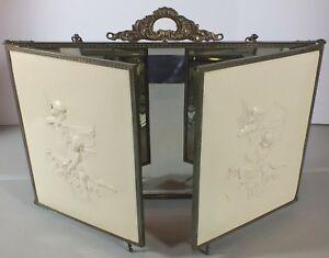 Beautiful Antique Tri Fold Mirror Brass Frame Legs Celluloid Cupid Cherubs
