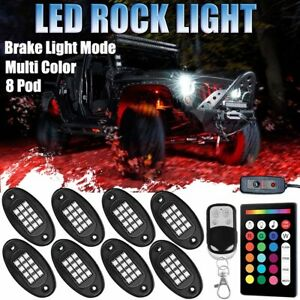 8 Pod Neon Led Rock Light Kit Control Under Glow Body For Offroad Car Truck Boat
