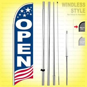Open Windless Swooper Flag Kit 15 Feather Banner Sign Usa Bb h