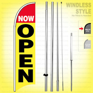 Now Open Windless Swooper Flag Kit 15 Feather Banner Sign Yb h