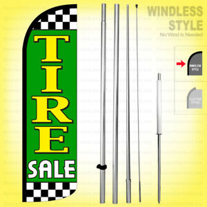 Tire Sale Windless Swooper Flag Kit 15 Feather Banner Sign Gq h
