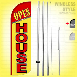 Open House Windless Swooper Flag Kit 15 Feather Banner Sign Yq h
