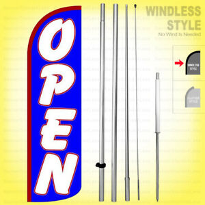 Open Windless Swooper Flag Kit 15 Feather Banner Sign Bq h