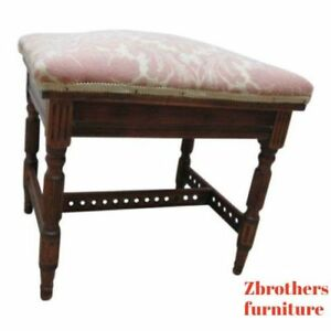 Antique Victorian Carved Fluted Foot Stool Ottoman Vanity Seat