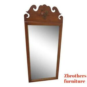 Vintage Hitchcock Paint Decorated Cherry Carved Arch Wall Dresser Mirror