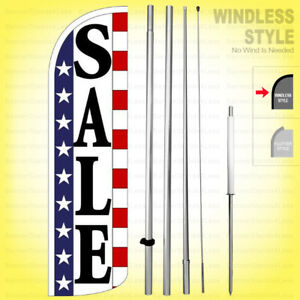 Sale Windless Swooper Flag Kit 15 Feather Banner Sign Stars Stripes Wq96 h