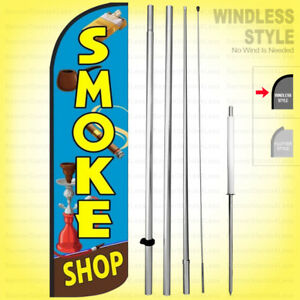 Smoke Shop Windless Swooper Flag Kit 15 Feather Banner Sign Bq h