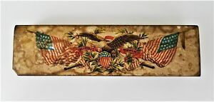 1800s Antique Pencil Box Early 24 Star Flag Eagle Shield Patriotic Wood