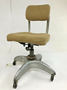 Vintage Industrial Office Chair Swivel Aluminum Mid Century Modern Desk Beige