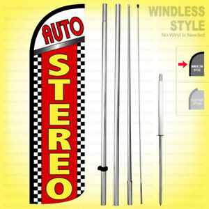 Auto Stereo Windless Swooper Flag Kit 15 Feather Banner Sign Rq50 h