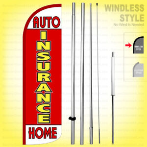 Auto Insurance Home Windless Swooper Flag Kit 15 Feather Banner Sign Rq17 h
