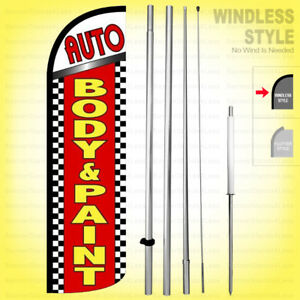 Auto Body Paint Windless Swooper Flag Kit 15 Feather Banner Sign Rq62 h