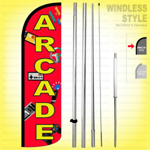Arcade Windless Swooper Flag Kit 15 Feather Banner Sign Rq h