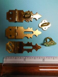 8 Vintage Brainerd Nos Solid Antique Brass Small Hinged Hasps No 802