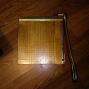 Vintage Ingento No 3 10 X 10 Wood Cast Iron Paper Cutter Trimmer