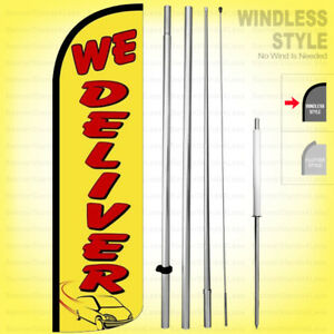 We Deliver Windless Swooper Flag Kit 15 Feather Banner Sign Yq h