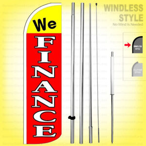 We Finance Windless Swooper Flag Kit 15 Feather Banner Sign Rq h