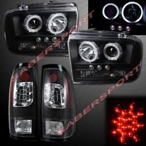 Set Of Black Halo Projector Headlights Led Taillights For 05 07 Ford Superduty