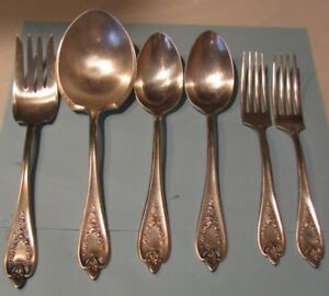 6 Rogers Old Colony 1847 Silverplate Casserole Serving Spoons Meat Fork Vtg 1911