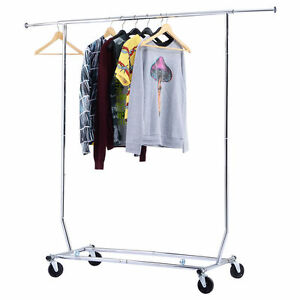 250 Lbs Heavy Duty Commercial Clothing Garment Rolling Collapsible Rack Chrome