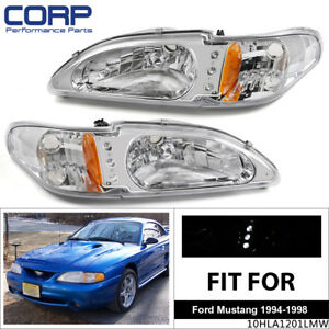 Led Drl For 1994 1998 Ford Mustang Chrome Housing Amber Corner Headlight Lamp