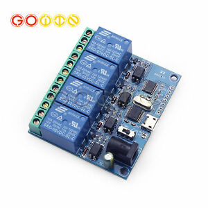 Micro Usb 5v 4 Channel Usb Relay Module Smart Switch Control Serial Port