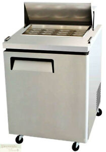 Salad Sandwich Prep Table 28 Refrigerated 1 Door 12 Pans 8 Cu Ft Stainless New