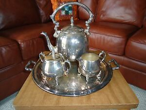 Antique Coffee Tea Set Sheridan Silver On Copper Plate Teapot Tray Sugar Creamer
