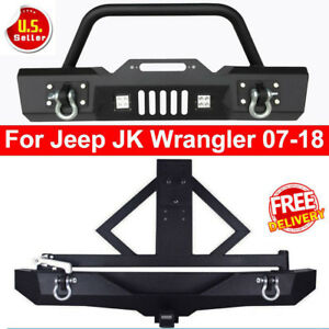 Front Rear Bumper Cree Led Lights Tire Carrier Hitch 07 18 Jeep Wrangler Jk