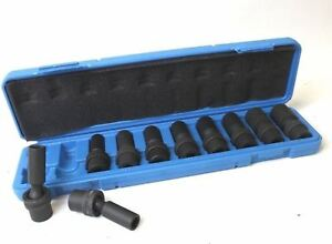 New 10pc 3 8 Drive Universal Swivel Deep Impact Socket Set Cr Molybdenum Metric