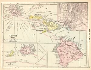 1913 Antique Hawaii State Map Vintage Map Of Hawaii Hawaiian Islands Map 6194