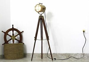 Best Nautical Brass Spot Light Side Lamp With Wooden Tripod Adjustable Gift