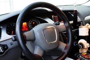 Hand Stitched Diy Car Steering Wheel Cover With Needles And Thread Black Red
