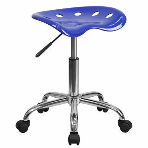 Flash Furniture Nautical Blue Tractor Seat Chrome Stool Lf 214a nauticalblue gg