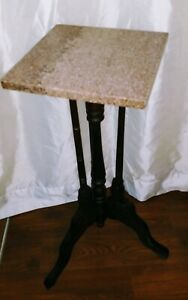 Antique Victorian Carved Walnut Marble Top Plant Display Stand 19th Century