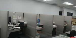 12 Office Workstations Gray 60 X 60 X 60 X 63 H Fair Condition