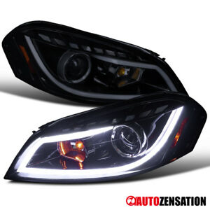 2006 2013 Impala Monte Carlo Glossy Black Led Projector Headlights Pair