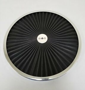14 Round Black Flow Thru Washable Air Cleaner Lid Top Only 350 454 302 347 460