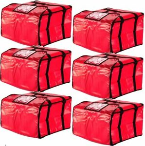6 Pack 20 X 20 X 12 Red Vinyl Insulated 16 18 Pizza Food Delivery Bag