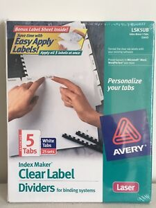 Avery Clear Label Dividers 5 Tab 25 Sets Lsk5ub 11443