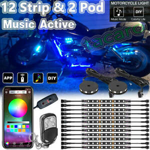 14pcs Led Bluetooth Underglow Lighting Strip Bar Kit For Motorcycle Harley Honda