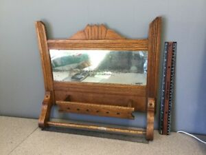 Antique And Original Victorian Eastlake Hanging Mirror Towel Rack