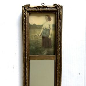 Pier Glass Trumeau Mirror 23 5 Peasant Girl Print Picture Vtg Victorian Wood