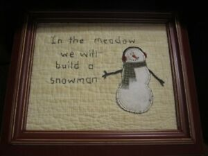 Primitive Framed Stitchery Winter In The Meadow We Will Build A Snowman