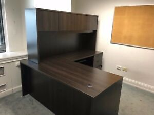 L shape Desk W Hutch By Basyx Office Furniture In Espresso Color Laminate